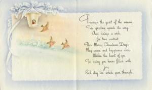 Christmas bird card inside