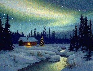 Christmas Cabin Art Print Sold Out