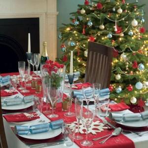 Christmas tree decorations table