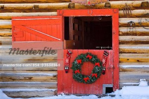 hanging on red barn door Christmas tree Arkans
