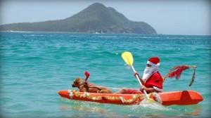 Santa in canoe