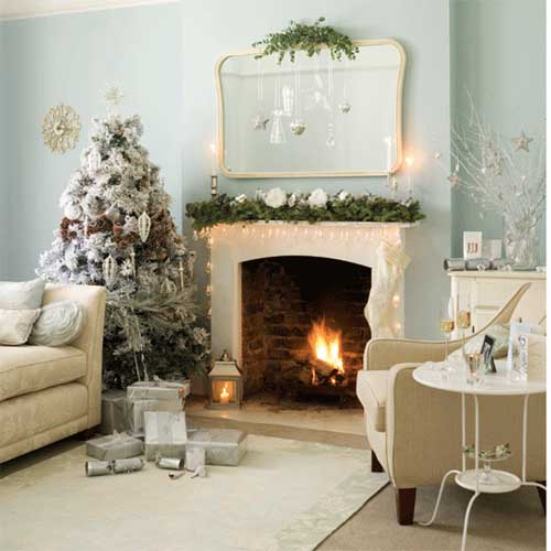 white Christmas fireplace ideas