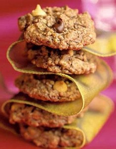 Chocolate Lovers' Oatmeal Delight  Crisp on the outside and fudgy on the inside, these easy drop cookies feature semisweet chocolate pieces as well as peanut butter-flavored pieces. Unsweetened cocoa powder punches up the chocolate flavor.