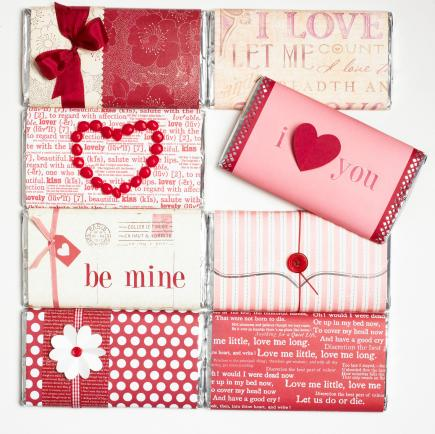 Candy covers  Dress up wrapped candy bars by adding your own papers, messages, ribbons and other accents.