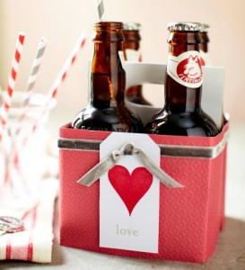 Dress up soda  Make a container of soda or beer more special by adding scrapbook papers, ribbon and a tag. Use double-sided tape or glue to attach paper.