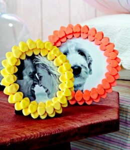Heart frames  Create a frame of candy or foam hearts to suround a special picture. Cut out a cardboard circle to fit on top of a frame, then glue on candy hearts or use stick-on foam hearts.