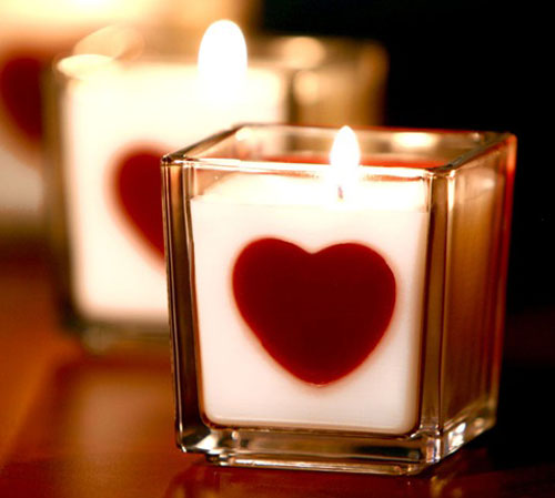 Valentine's Day heart Candle DIY