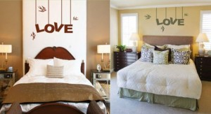 Love Hanging Sign Birds Bedroom Decoration