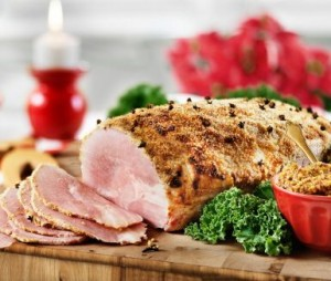 Grilled ham with mustard coating