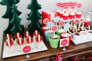 Beautiful dessert table at a Christmas Hot Cocoa Bar!