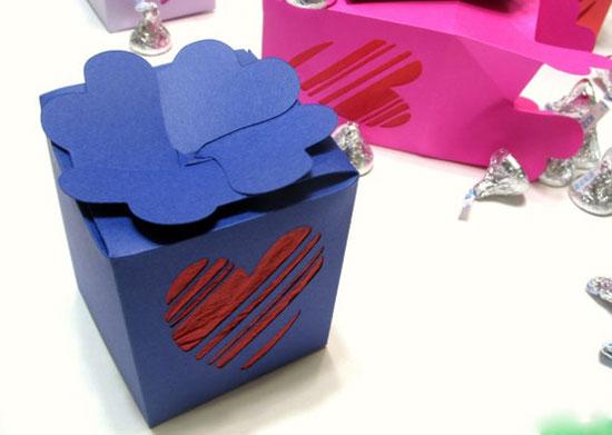 Handmade Valentine Gift Box/Paper Lantern, Striped Heart Designs
