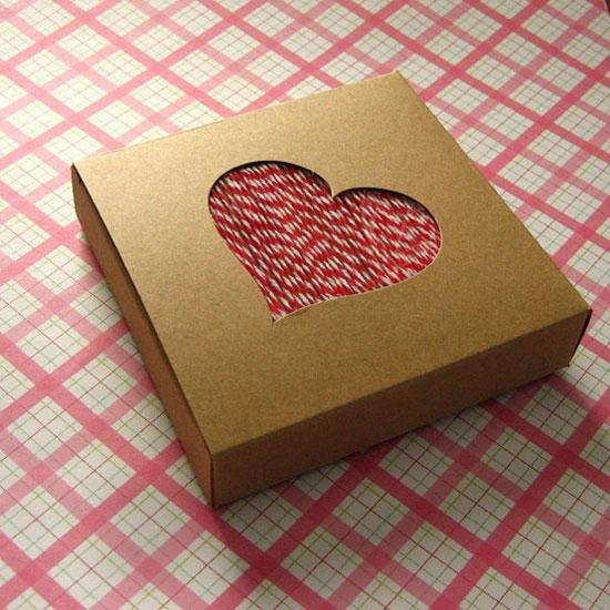 Kraft Gift Boxes Heart Cutout Window