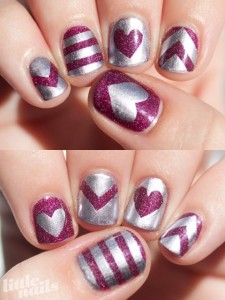 Sparkly Hearts and Stripes