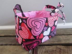 Small Fabric Organizer Bin – Valentine's Day Hearts