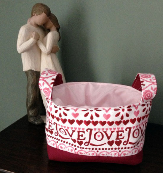 Sampler 'Love' Fabric Basket Made With Emma Bridgewater Fabric
