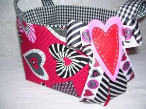 Valentine's Day Retro Hearts Fabric Gift Basket Organizer Bin Storage Container
