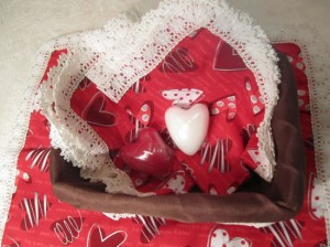 Valentine's Day Basket With Heart Candles & Handmade Napkin