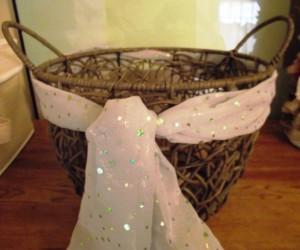Valentines Day Gift Wicker Basket Soft Green Shimmery Tie Celery Sage Sequin Woven Organic Magazine Holder File Tote Nursery Diaper Bin