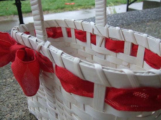 -Valentines Red & White Handwoven Magazine/Gift Basket