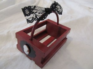 Gothic Victorian Small Cameo Lace Crate Basket