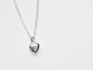 Tiny Heart Necklace – All Sterling Silver – Puffy Heart – Valentines Day Gift For Her