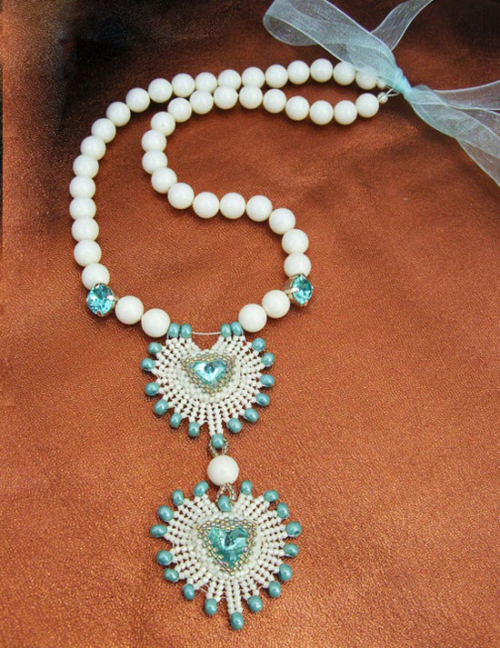 Valentine's Day Gift – Beadwork, Statement Necklace With Swarovski Pearls & Crystals In White & Blue-Azure –