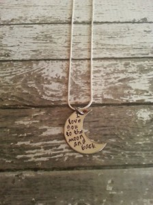 Valentine's Day Gift – Custom Hand Stamped Stainless Steel Moon Necklace