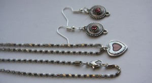 Matching Necklace & Earring Set – Silver Toned & Pink Snake Chain – Perfect Valentine's Day Gift