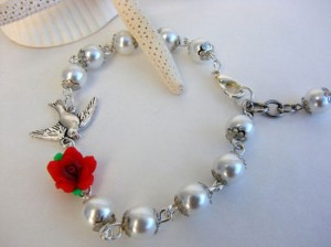 Bird & Flower Bracelet – Valentines Day Gift