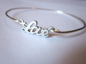 Silver Love Bangle Bracelet Silver Charm Script