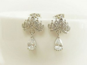 White Gold Plated Pretty Tiara Earrings