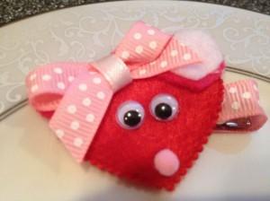Valentine Hair Bow Clip – Mouse – Toddler Hair Clip