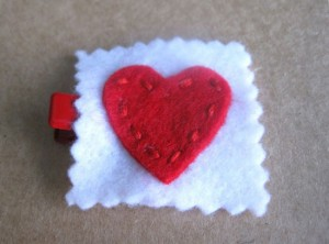 Valentine's Hair Clip – Red Felt Heart with Stitching-