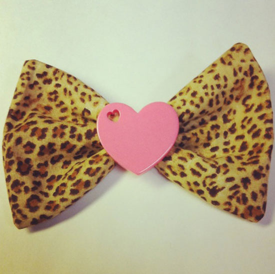 Valentine's Day Leopard Print Hair Bow