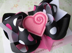 Valentine's Heart Stacked Hair Bow