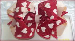 Red & Cream Valentine Hair Bow