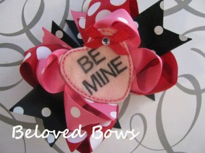 Embroidered Be Mine Boutique Style Valentine's Hair Bow Black Pink White