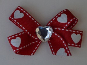 Heart Valentine's Hair Bow With Sparkle Silver Heart & Red & White Heart Ribbon Clip