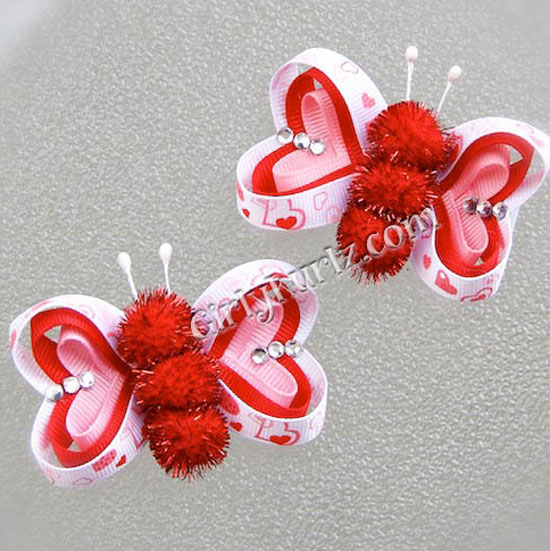 Valentine Hair Bow Pink/ Red/White
