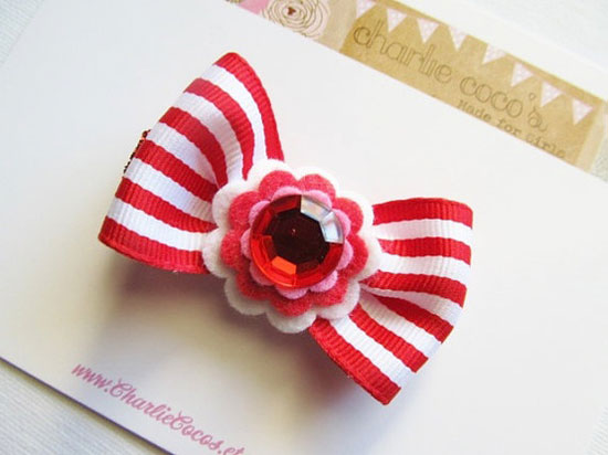 Striped Hair Bow Clip With Felt Flowers & Rhinestone/Pink/Red/White