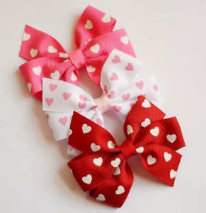 Valentine's Day Hair Pinwheel Bow Set