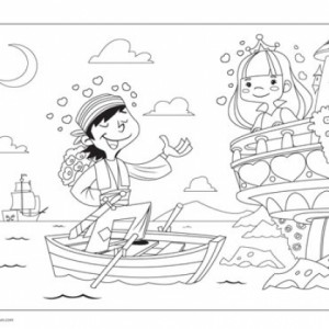 Pirate and Princess Coloring Page We've created a sweet coloring page that both boys and girls will enjoy.