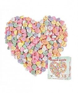 Candy Heart Jigsaw Shaped Puzzle Since some matters of the heart can't be solved, it's best to keep your gift-giving light and playful. Rest assured, this 500-piece jigsaw puzzle promises to come together at the end.