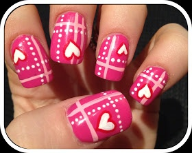 Valentines Plaid nails