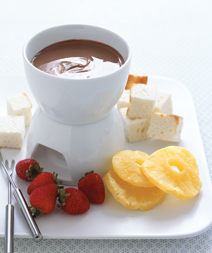 Chocolate Bar Fondue Use your imagination when choosing ingredients for dipping—try pound cake, flavored marshmallows, graham crackers, or even pretzels.
