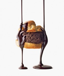 Double-Chocolate Profiteroles Pastry puffs filled with chocolate ice cream and drizzled with dark chocolate sauce make an elegant finale to a romantic meal.