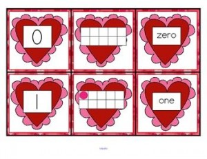 FREE This is a set of number cards with a Valentine's Day theme, 0-10. Three cards for each number – the number, a ten-frame representation, and the number word. Use for recognition, sequence, memory games, flash cards, hiding and finding games, and of course, matching.