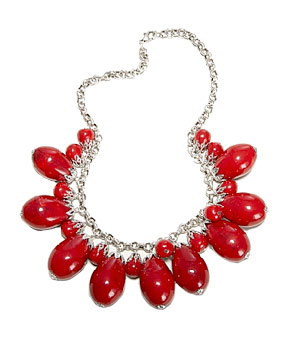 Marbled Pins Bauble Necklace by the Limited If you want to look hot around the collar, slip on these cherry-red acrylic beads with a plain sheath dress.