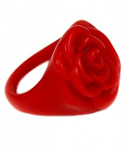 Rose Ring by Fred Flare It's not Valentine's Day without a red rose―and you can enjoy this resin bloom long after the floral variety has wilted.