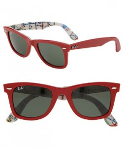 Classic Wayfarer Sunglasses by Ray-Ban These red resin shades make it easy to look where you're going: The inside of the frames are illustrated with a New York City subway map. Available in two other subway-and-color combinations.